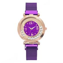 Women Purple Watch Luxury Crystal Magnet Fashion Ladies Dress Quartz Clock Mobile Rhinestone Waterproof Wristwatches