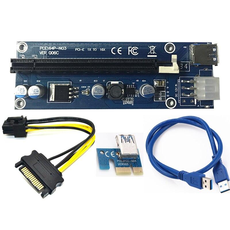 USB 3.0 PCI-E Extender Riser Card PCI Express 16X adapter 60 cm SATA 15Pin do 6Pin napajalni kabel za rudarsko orodje Bitcoin BTC