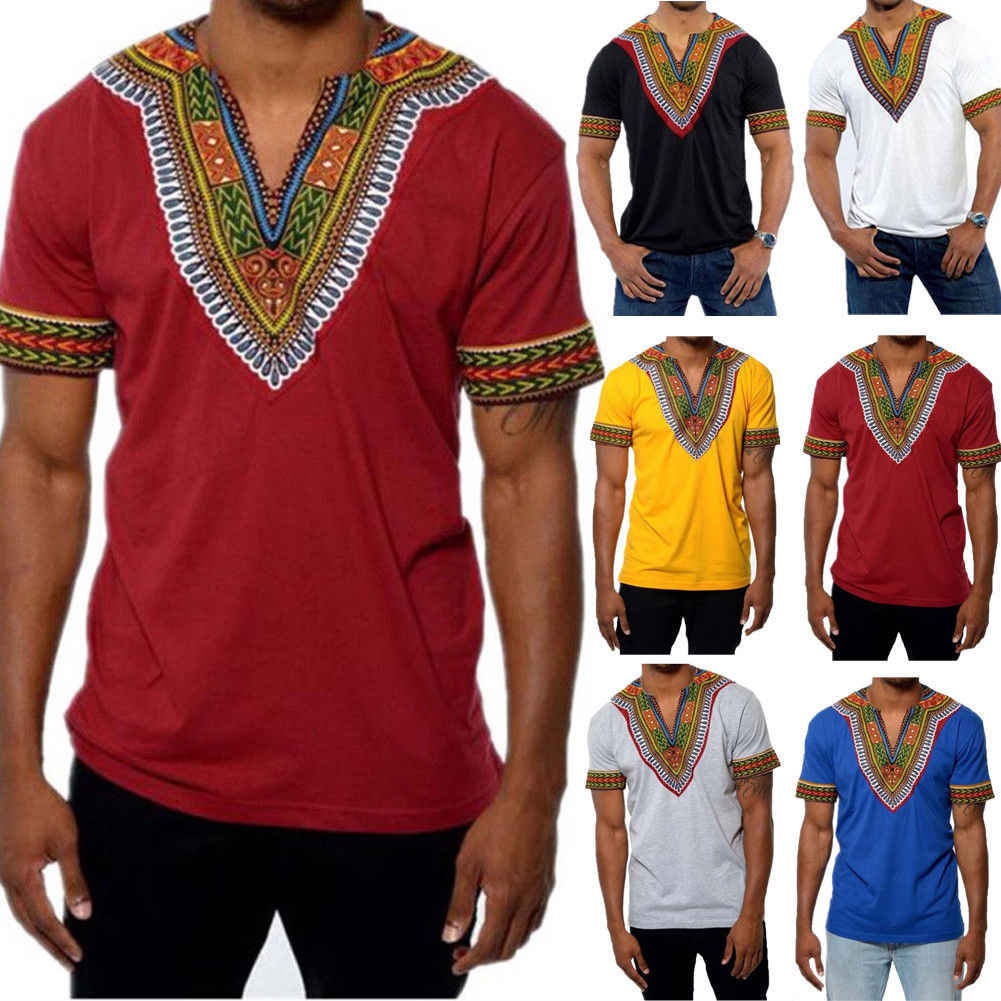 T-shirt Mannen 3d T-shirt V-hals T-shirts Voor Mannen T-shirt Dragon Ball Afrikaanse Tribal Shirt Mannen Dashiki print Hippie Top Blouse
