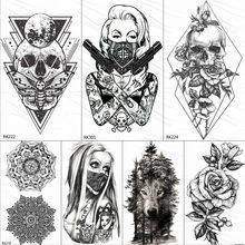 OMMGO 3D Rhombus Triangle Skull Nun Temporary Tattoo Sticker For Men Women Arm Leg Tatoo Paper Waterproof Body Art Black Tattoos(China)