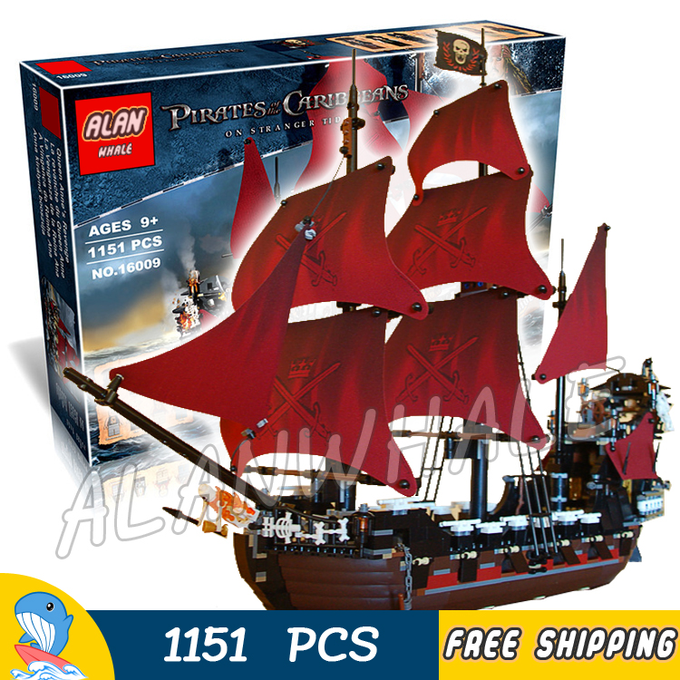 1151pcs Battle Ship Pirates of the Caribbean Queen Anne's Revenge 16009 Model Building Blocks Toys Bricks Compatible With lego lepin 16009 caribbean blackbeard queen anne s revenge mini bricks set sale pirates of the building blocks toys for kids gift