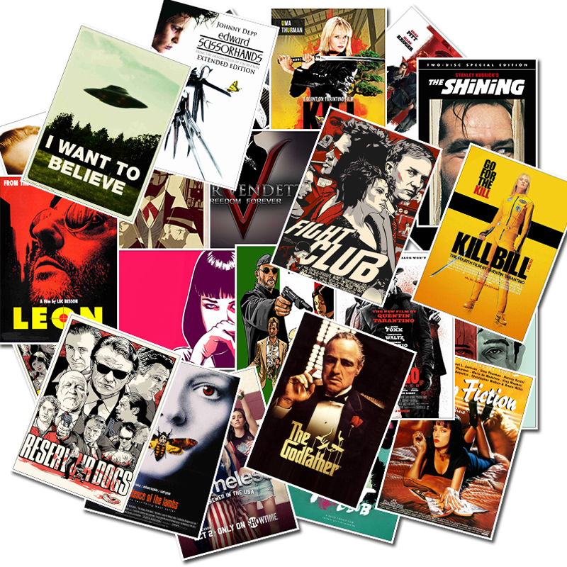 25pcs-classic-movie-stickers-for-luggage-laptop-art-painting-kill-bill-pulp-fiction-poster-stickers-waterproof-skateboard-toy