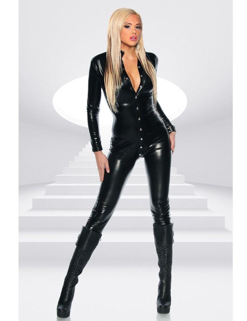 Women Black Faux Leather Bodysuit Sexy Long Sleeve Bodycon Jumpsuit Punk Rivet Button Catsuit Fetish Catwoman Cosplay Costume