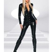 ee032cc3b71 Fetish Queen Women Black Faux Leather Bodysuit Sexy Long Sleeve Bodycon Jumpsuit  Punk