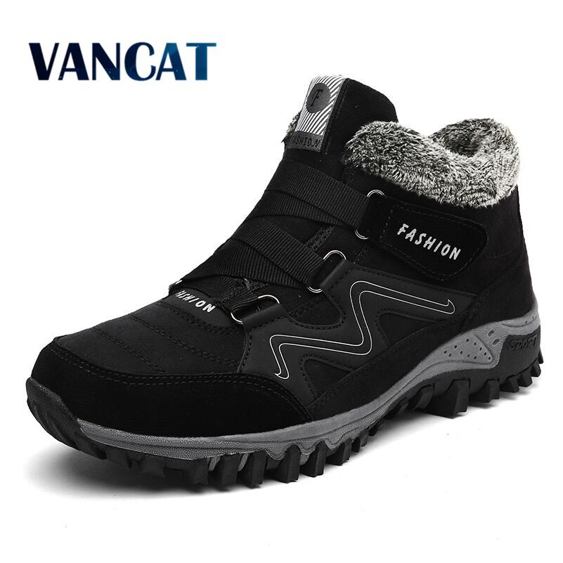 Vancat Men Boots Winter With Fur Warm Snow Boots Men Winter Boots Work Shoes Men Footwear Fashion Rubber Ankle Shoes 39-46