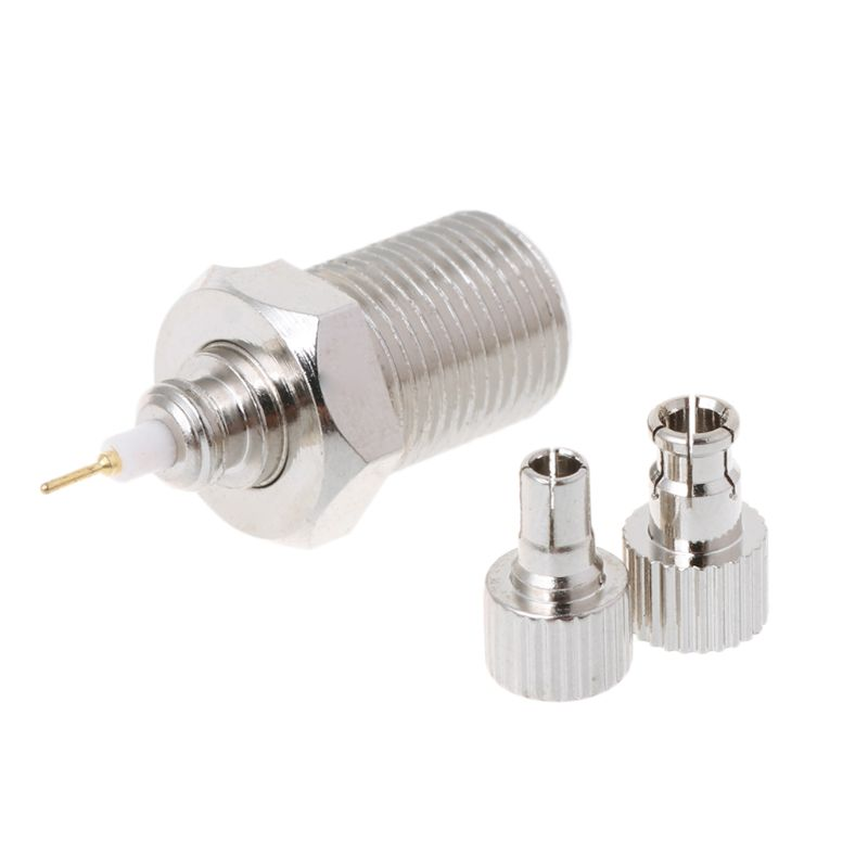 F Female To TS9 & CRC9 Male Plug Coaxial Adapter RF Connector Nickel Plated