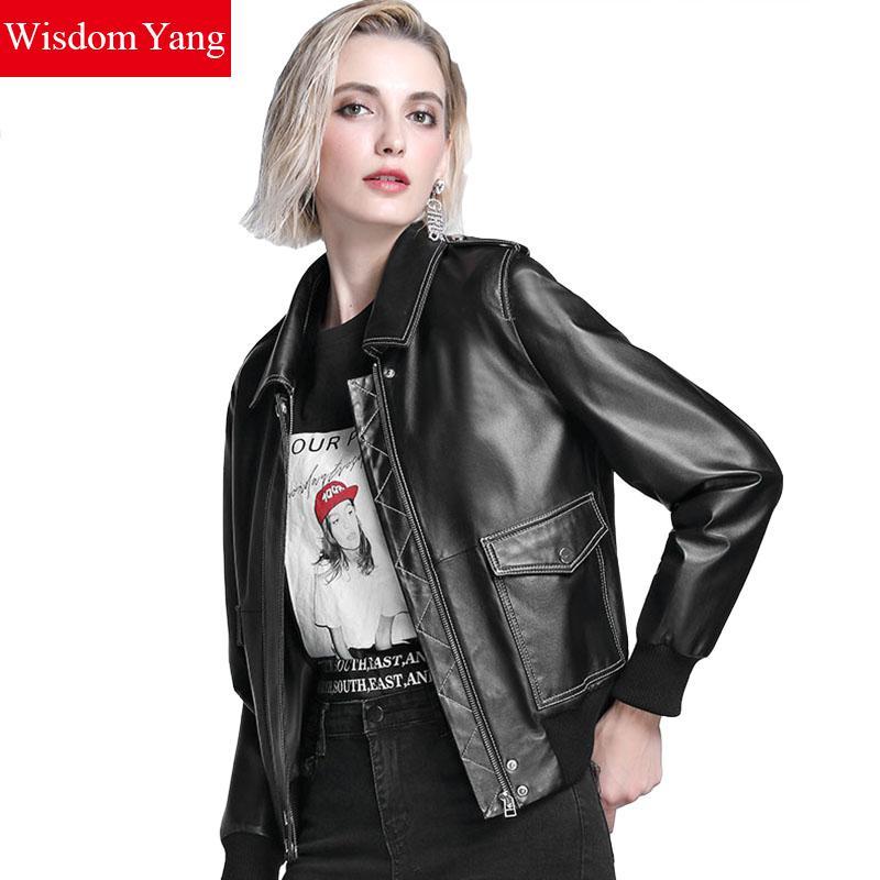 Black Red Woman coats Sheepskin Genuine Leather Short Jackets Coat Womens Pockets Overcoat Bomber Ladies Jacket Coats Outerwear