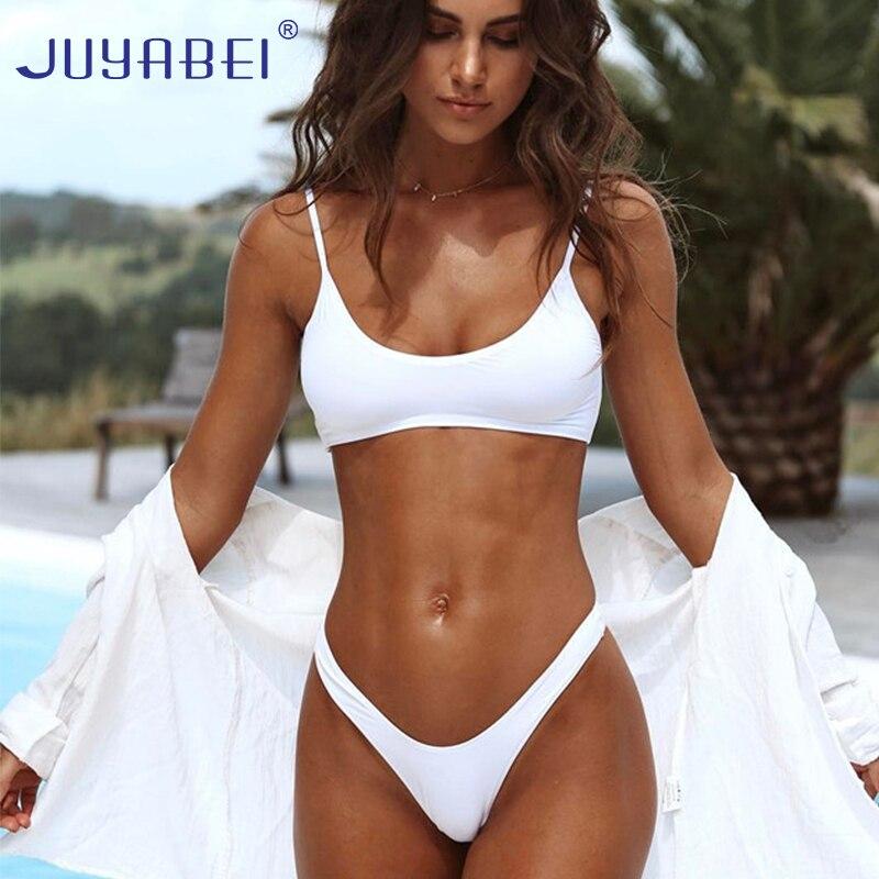 JUYABEI Solid Triangle Bikini 2017 Sexy White Black Swimsuit Thong Female Push-up Brazil Biquini Halter Beach Bathing Suit Women