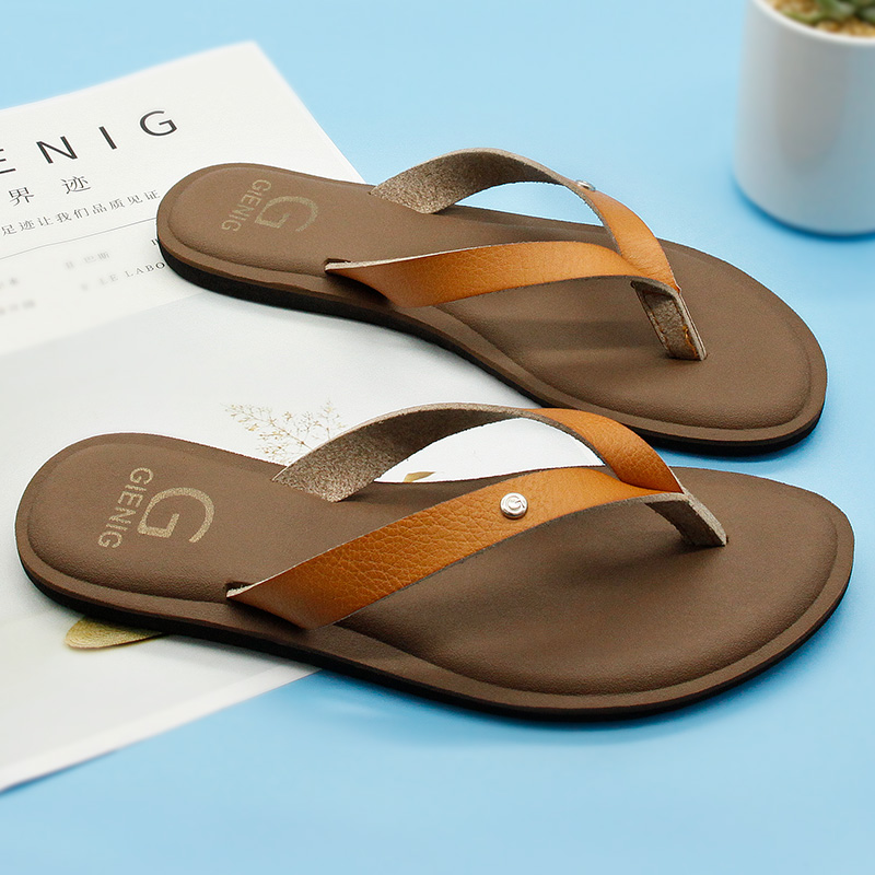 GieniG 2018 cuero mujeres verano chanclas zapatillas de tacón bajo - Zapatos de hombre - foto 1