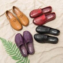 AARDIMI/женские туфли на плоской подошве из натуральной кожи ручной работы в стиле ретро; однотонные туфли без застежки на плоской подошве с круглым носком; женские лоферы; 4 цвета