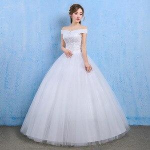 Image 2 - Vestido De Novia luksusowy kryształ suknie ślubne suknia balowa off ramię zasznurować eleganckie tanie koronkowe suknie panny młodej Robe De Mariee