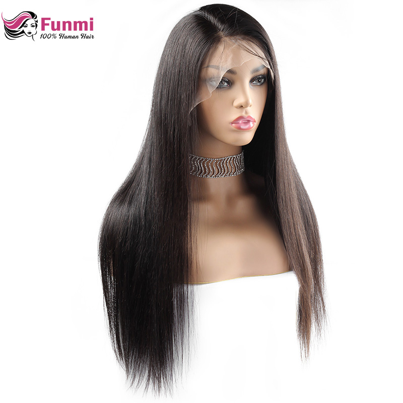Funmi Peruvian Lace Front Human Hair Wigs For Women Remy Hair Straight Lace Front Wigs With Baby Hair Full End Natural Black