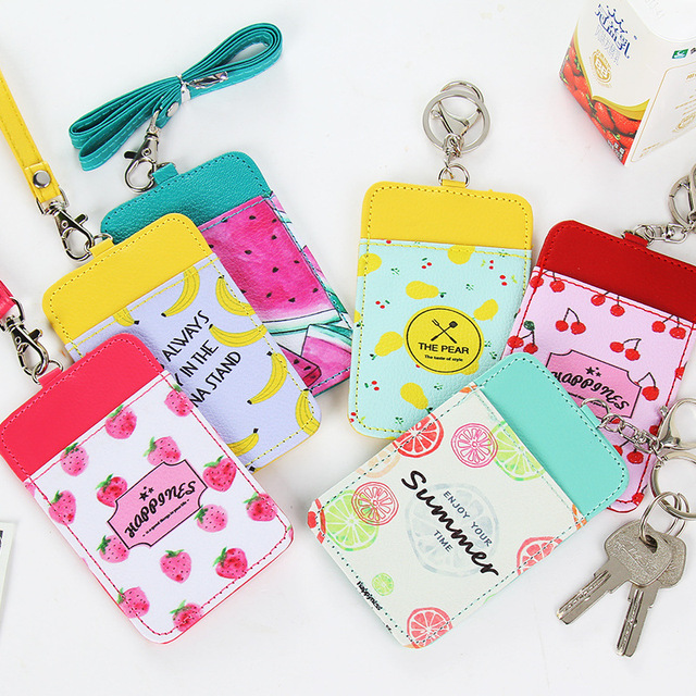 Travel Candy Colors Fruit Print Pu Bus Name Id Card Holder Case Bag Visiting Business