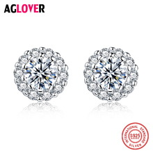 925 Sterling Silver Earrings Minimalist Round Design Stud Earring 2018 Valentines Day New Fashion Women Crystal Zircon Jewelry