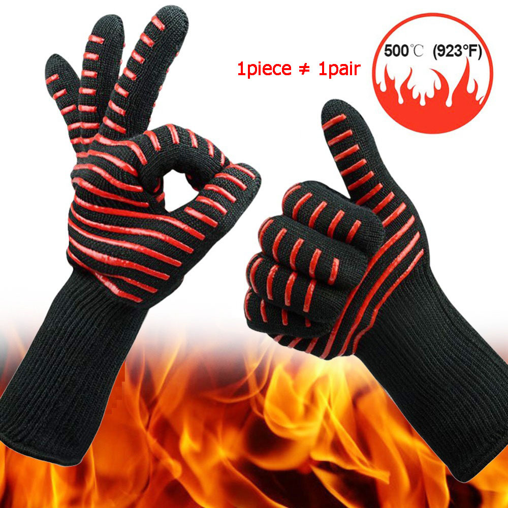 1piece 500 Degree High Temperature Silicone Protective Glove Microwave Oven BBQ Aramid Cut-proof Waterproof Industrial Glove