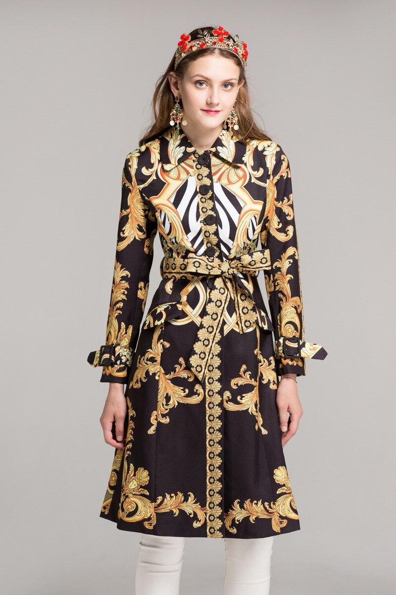 Italy style retro print belted trench coat New 2018 Autumn Fashion women vintage windbreaker coat S557