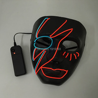 Rave Costume Party Decor Led Strip Flashing Lightning Mask Masquerade Party Supplies EL Neon Light Scar