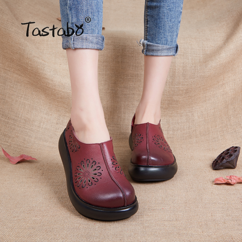Tastabo 2019 Women Wedges Platform High Heels Shoes Fashion Genuine Leather Soft Leather Light Outsole Shoes