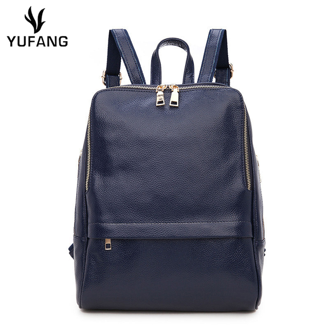 f9d9ead561 ... best sell bf419 7618f YUFANG Women Backpack Genuine Leather Women Bags  Designer Casual Real Leather Laptop ...