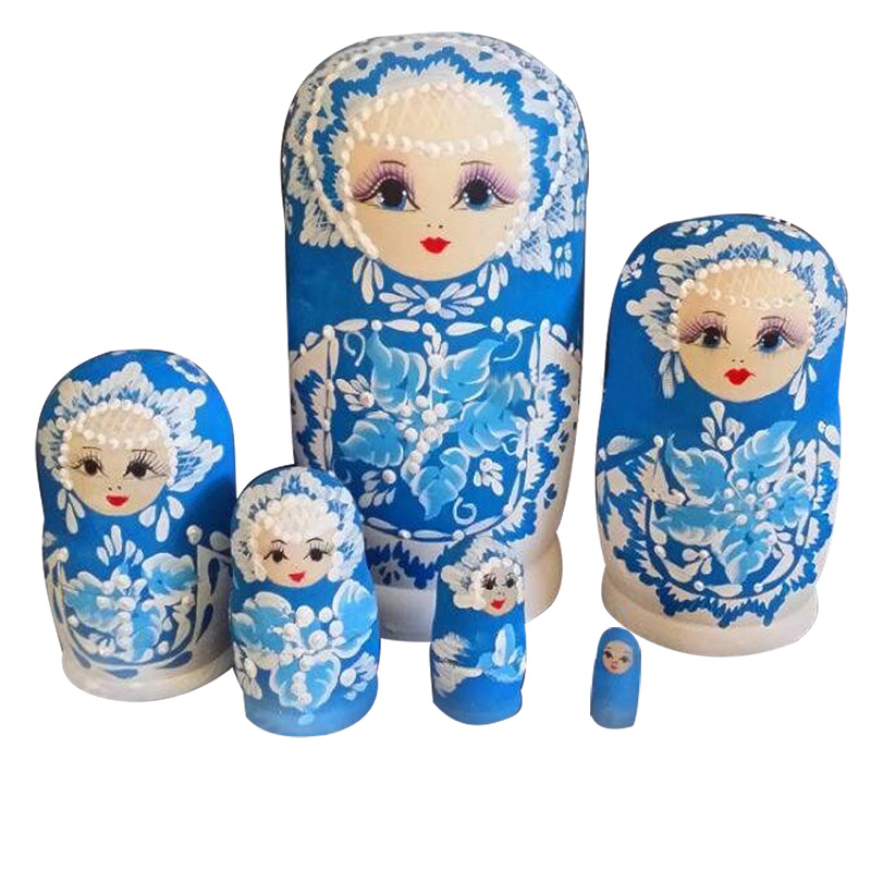 2017 6Pcs Russian Doll Basswood Mini Engraver Wooden Discolor Nesting Dolls Matryoshka Toy For Kids Gift @ZJF