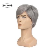 BCHR 6 pulgadas corto Striaght peluca sintética completa para hombres pelo masculino Fleeciness realista mezcla de plata pelucas llenas naturales