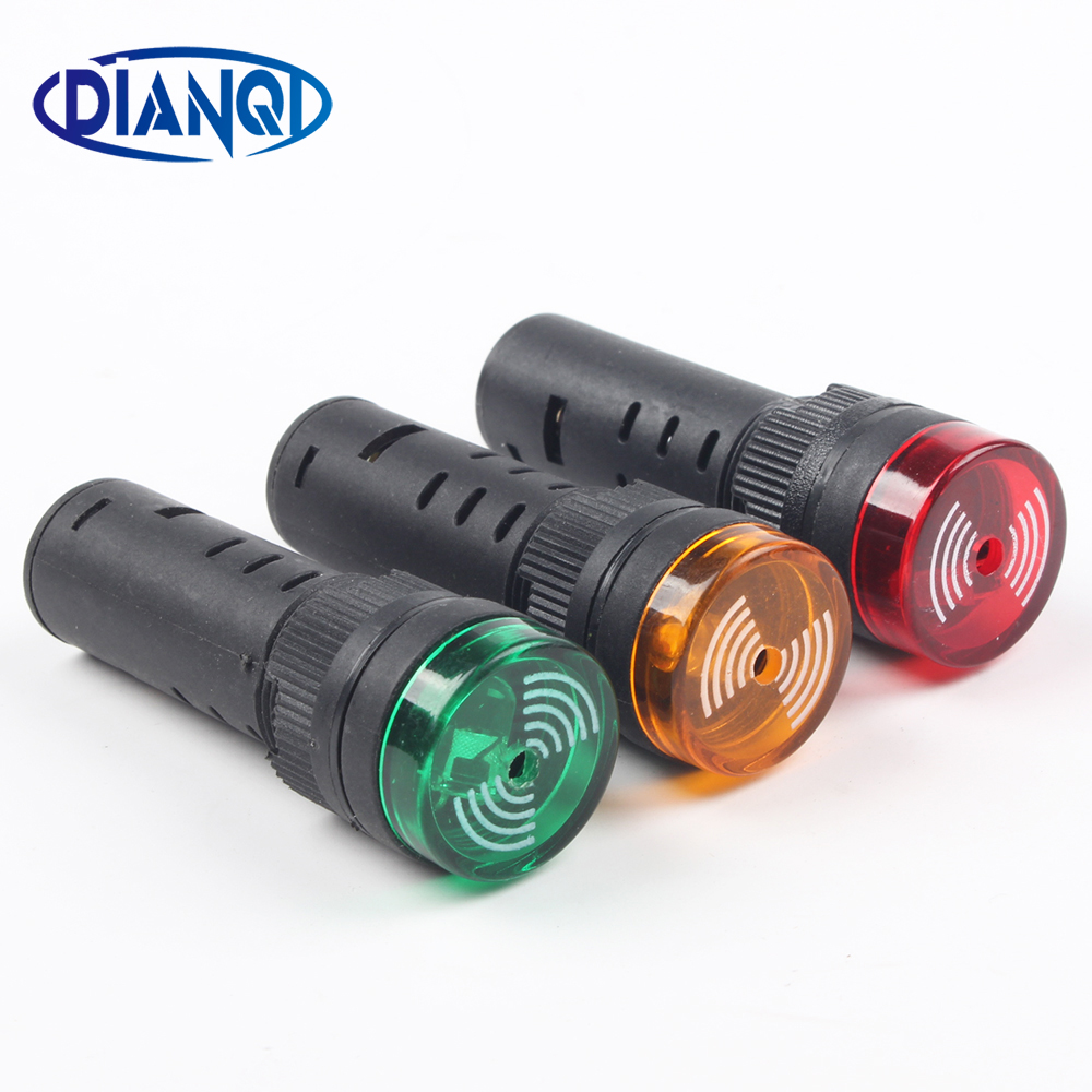 1pc Colorful AD16-16SM 12V 24V 110V 220V 16mm Flash Signal Light Red LED Active Buzzer Beep Alarm Indicator Red Green Yellow