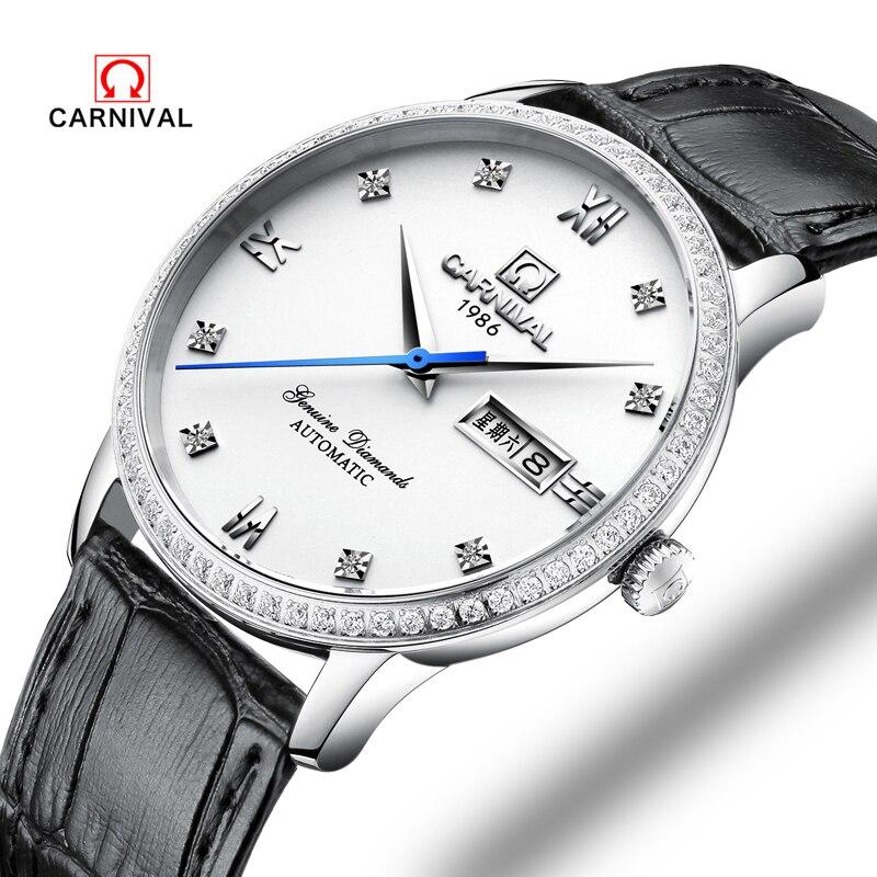 2018 nouveau carnaval marque de luxe en cuir montre hommes d'affaires automatique montres mécaniques Design minimaliste suisse montres