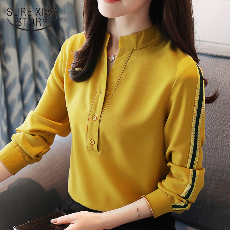 2018 new spring women tops long sleeved   blouses   office lady style solid button   shirts   casual slim women clothing D430 30
