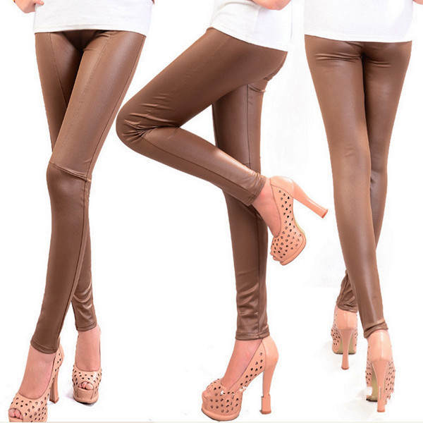 Faux Leather Leggings For Women - M,L,XL,XXL - Khaki, Black, Brown - image HTB1OQ3dGFXXXXaYXFXXq6xXFXXX3 on https://awesomeleggingstore.com