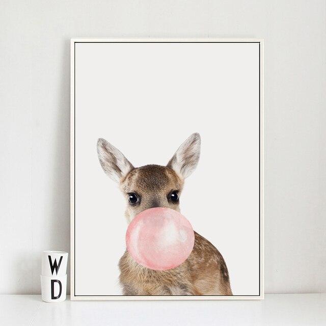 Burbuja de chicle jirafa cebra Animal pósters lienzo artístico pintura arte de pared para guardería cuadro decorativo Estilo nórdico niños Deco