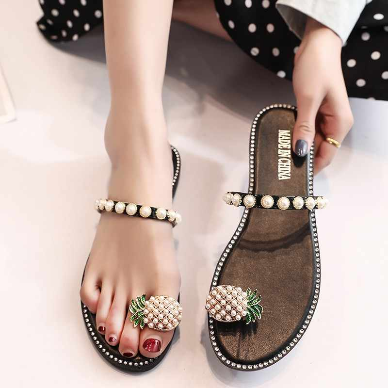 Pineapple Beading Flipflops Woman Pearl Beaded Sandals Clip Toe Beach Slippers Flat Heel Pineapple Sandalias Crystal Shoes