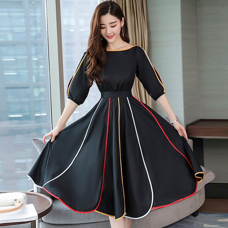 High Quality Fashion Designer Runway Dress 2019 S Women s Half Sleeve O Neck Striped Patchwork