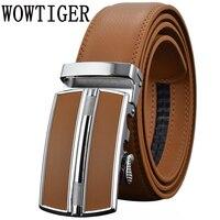 Мужские ремни роскошный, с автоматической пряжкой Genune кожаный ремешок черный коричневый для мужчин s ремень дизайнера бренда высокого каче...