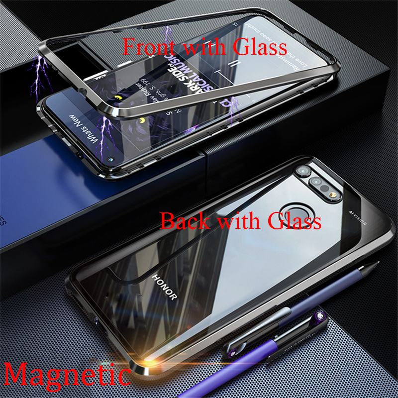 For Huawei Honor V20 View 20 Magnetic Case 360 Front+Back double-sided Tempered Glass Case Honor V20 V 20 Magnetic Metal Cover