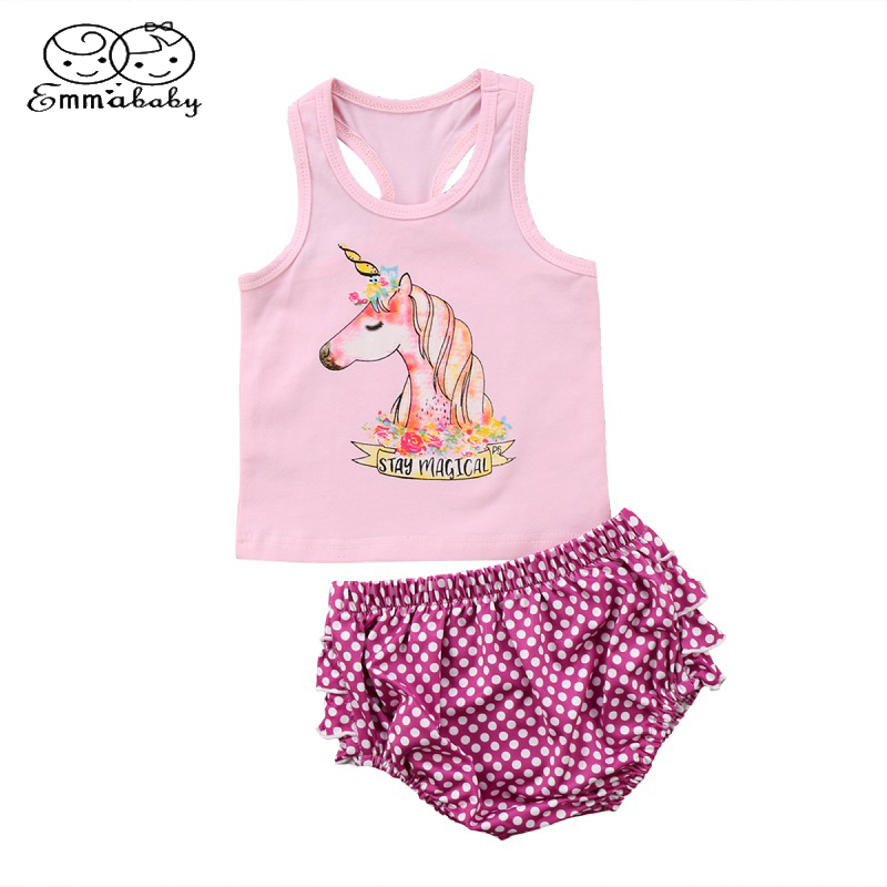 90c9a44bb51c0 US $4.77 25% OFF|Emmababy Newborn Kids Baby Girl Unicorn Sleeveless T shirt  Top Vest +Ruffled Shorts Pants 2Pcs Set Outfit Clothes-in Clothing Sets ...
