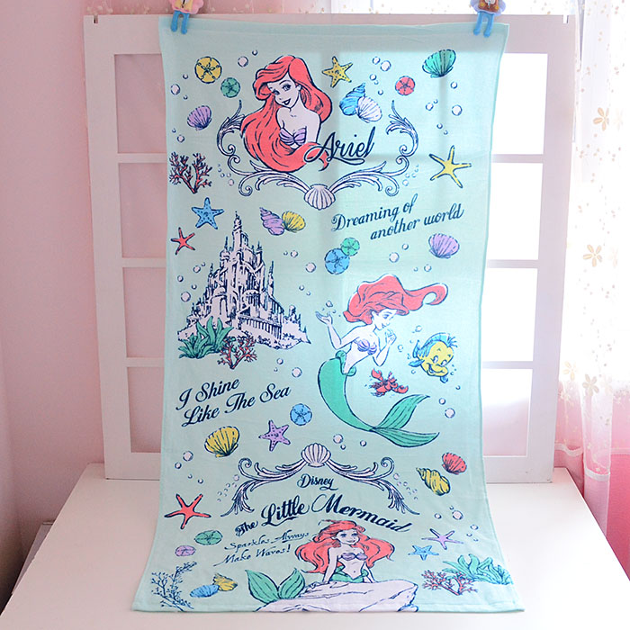 Princess Little Mermaid Ariel Alice in Wonderland Towel Beach Children Gift Baby Handkerchief Printed Cotton Towels 60*120cm
