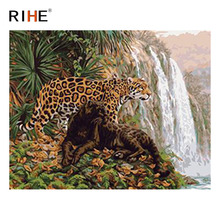 RIHE Leopard Diy Painting By Numbers Animal Oil On Canvas Waterfall Hand Painted Cuadros Decoracion Acrylic Paint Art