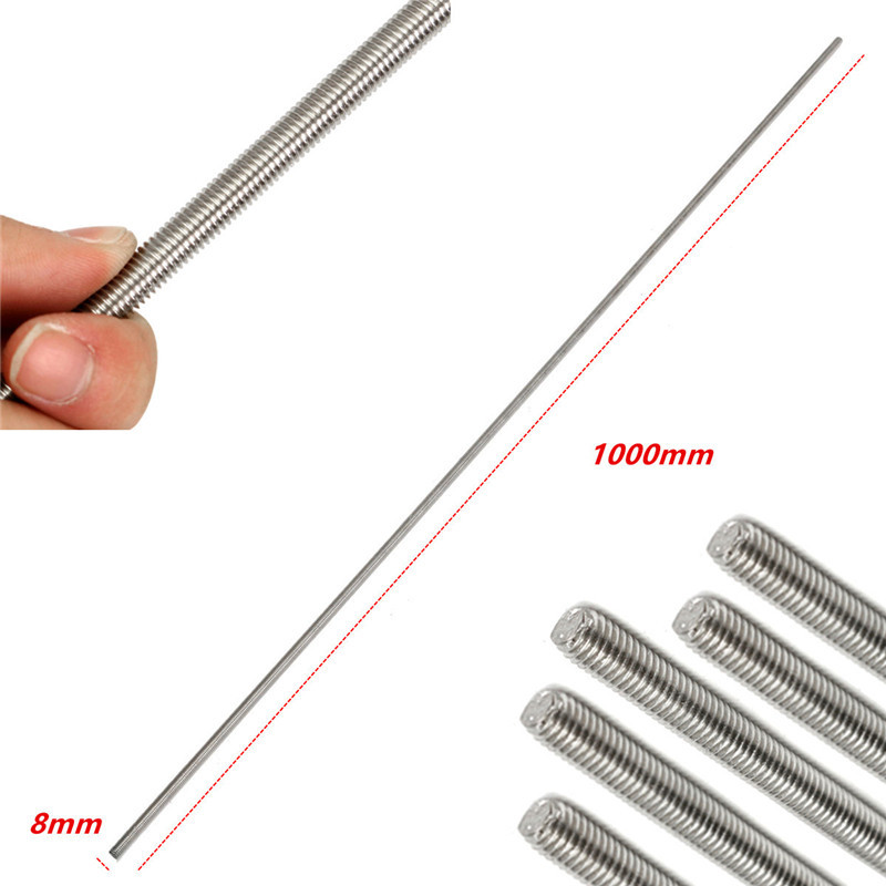 304 stainless steel screw threaded rod M8 thread 8*1000mm REPRAP 3D Printer Parts  Accessories Shafts 304 stainless steel thread pitch1 2mm m5 domestic ladder screw rod tr5 1 stepper motor rod guide with 1pcs m5 nut for 3d printer