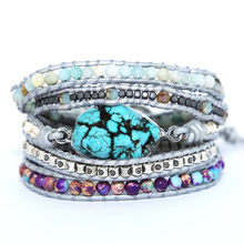 DIEZI Drop Shipping Handmade Sky Blue Stone Charm Bracelet Leather Wrap Purple Beads Bracelet for Women Men Jewelry(China)