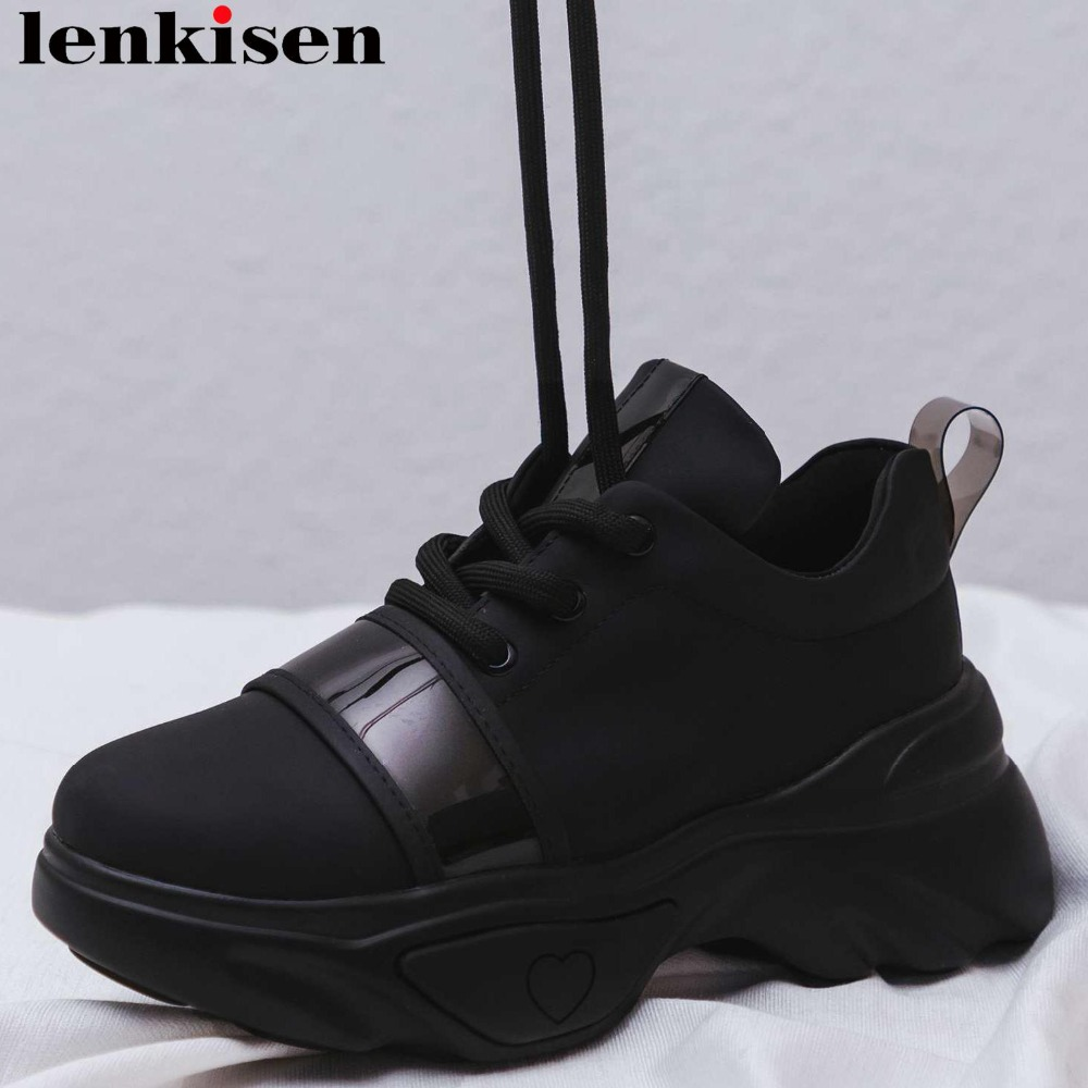 Baskets populaires à lacets en cuir de vache de grande taille plate-forme haute respirante belles filles portent quotidiennement des chaussures vulcanisées L32
