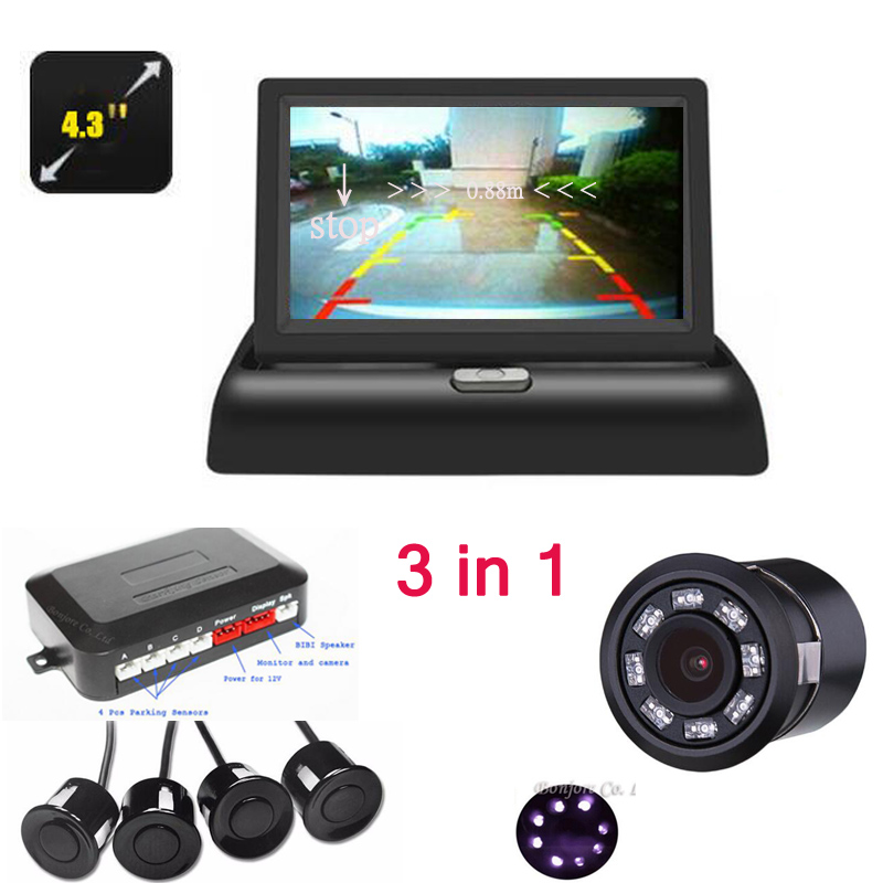 3in1 Dual Core CPU Car Parking Assistance Sensor Reversing Radar Video System Connect Car 4.3 inch Monitor and Rearview camera