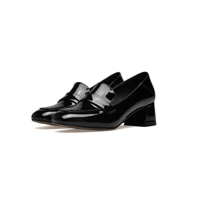 Fait Top Main Produit Talon Pur Femmes Cuir Véritable Talons Noir Haute Épais blanc Chaussures De En FYxTYqSaw