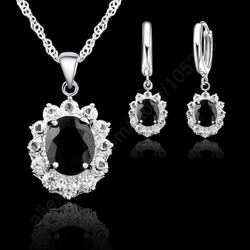 คลาสสิกแหวนแต่งงานเจ้าหญิงสร้อยคอต่างหูชุดเครื่องประดับ 925 เงินสเตอร์ลิงสีดำรูปไข่ Cubic Zirconia Stones