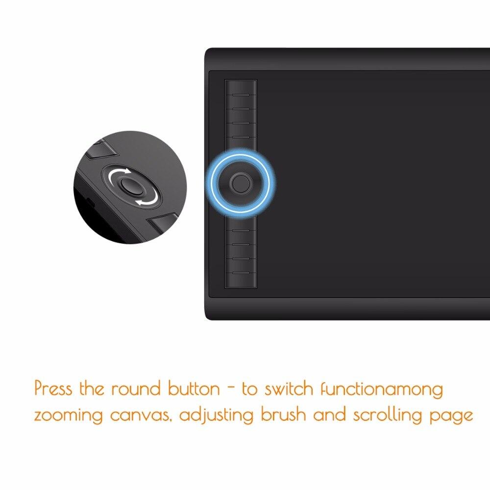 GAOMON M10K 2018 Version 10x6.25 Pouces Art Numérique tablette graphique pour Dessin avec 8192 Niveau Stylo Pression Passive Stylus - 3