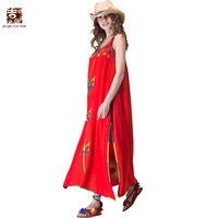 Jiqiuguer Women Embroidery Long Tank Dress Vintage V Neck Sleeveless Split Red Loose Beach Casual Summer
