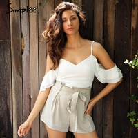 Simplee Cold Shoulder Ruffles Bow Chiffon Women Jumpsuit Romper V Neck Backless Packets Playsuit Sexy Straps
