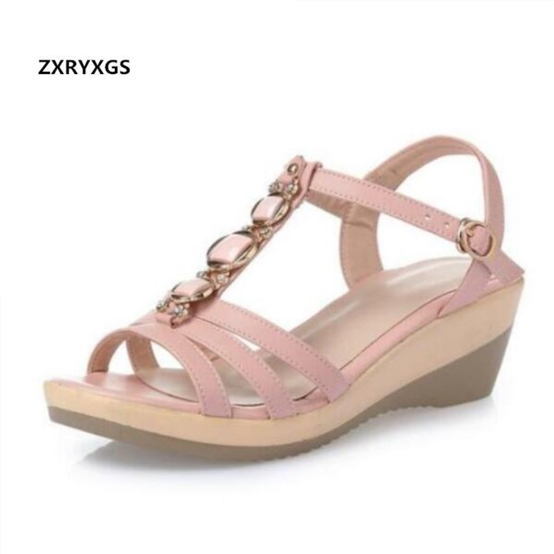 2019 New Rhinestone Genuine Leather Sandals Fashion Shoes Thick Bottom Fish Mouth Wedges Summer Shoes Women