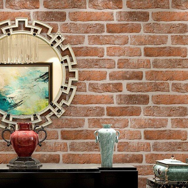 HaokHome Vintage Faux Ziegel Vinyl Tapete Rollen Rot/Creme 3D Realistische  Stein Wandmalereien Hause Schlafzimmer