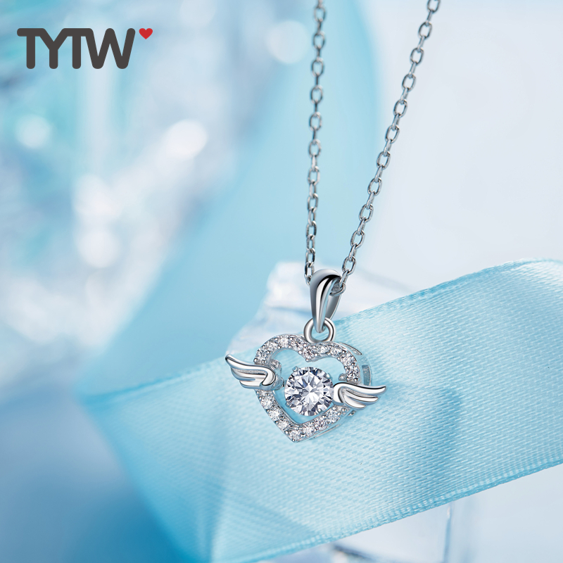 TYTW Chic Women Popular S925 Silver Necklace Angel Wing Heart Shape Love Crystal Ladies Pendant Necklaces AAA Zircon