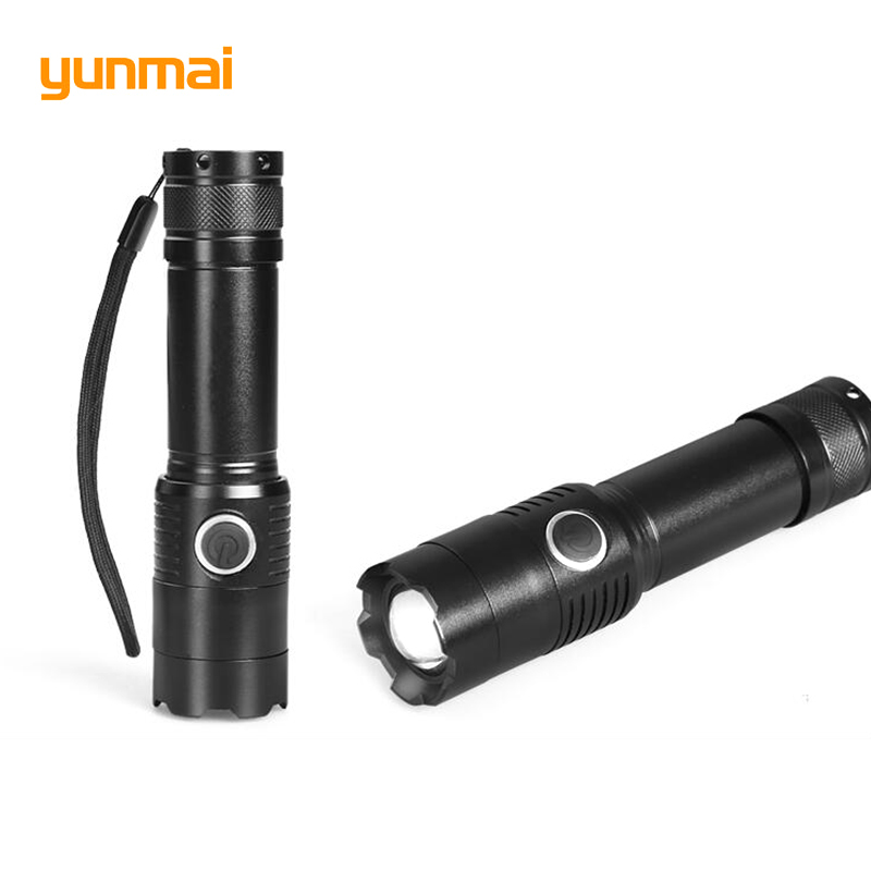 Powerful Led Flashlight Cree xm-l t6 Portable Light Black Lantern Tactical Torch Rechargeable 18650 or AAA Battery Hunting Light rechargeable 2000lm tactical cree xm l t6 led flashlight 5 modes 2 18650 battery dc car charger power adapter